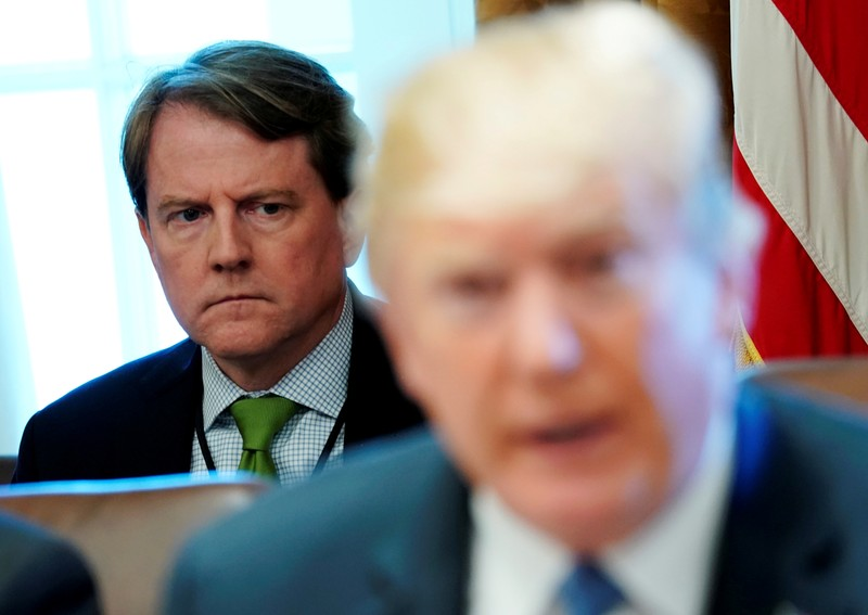 FILE PHOTO: White House Counsel McGahn listens to U.S. President Trump hold a cabinet meeting at the White House in Washington