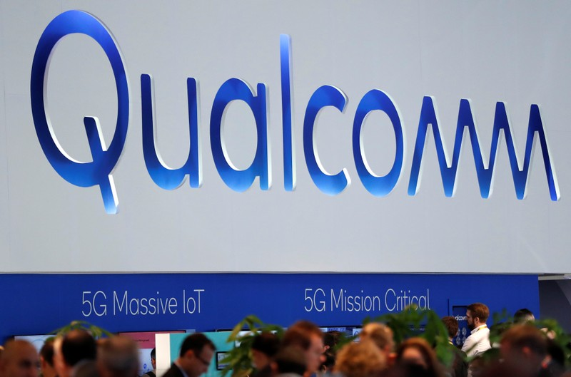 The logo of Qualcomm is seen during the Mobile World Congress in Barcelona