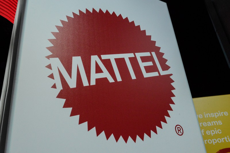 The Mattel company logo is seen at the 114th North American International Toy Fair in New York City