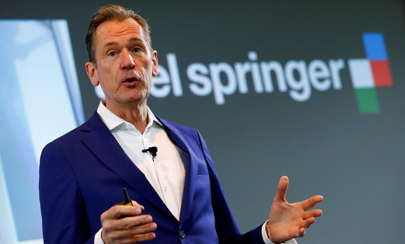 FILE PHOTO: CEO of German publisher Axel Springer SE Doepfner holds a speech during the annual news conference in Berlin