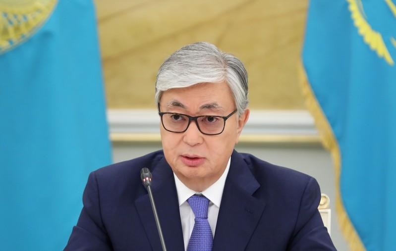 FILE PHOTO: Kazakhstan's President Kassym-JomartTokayev attends a news conference inNur-Sultan