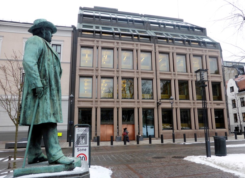 FILE PHOTO: A general view of the Norwegian central bank in Oslo