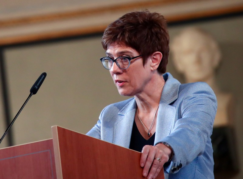 Kramp-Karrenbauer, chairwoman of Germany's Christian Democratic Union (CDU), delivers a speech at the German Institute for Economic Research (Ifo) in Munich