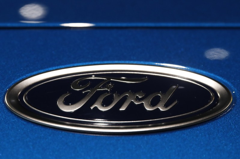 The Ford logo is seen on a vehicle at the New York Auto Show in New York