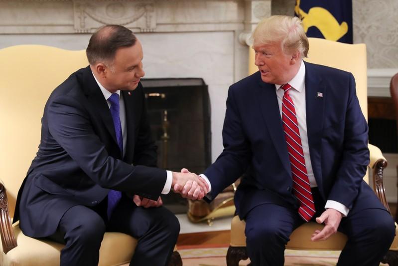 U.S. President Trump welcomes Poland's President Duda at the White House in Washington
