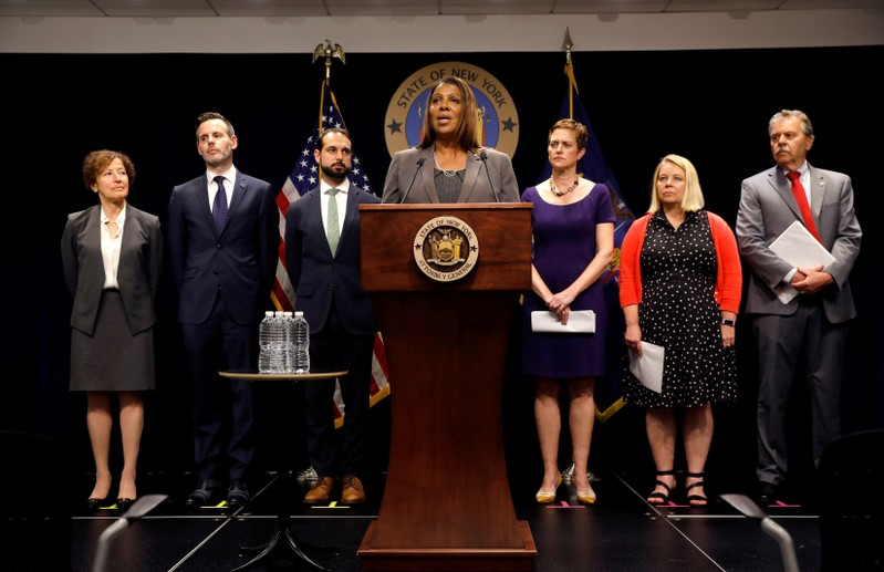 FILE PHOTO: New York State Attorney General Letitia James speaks at a news conference in New York