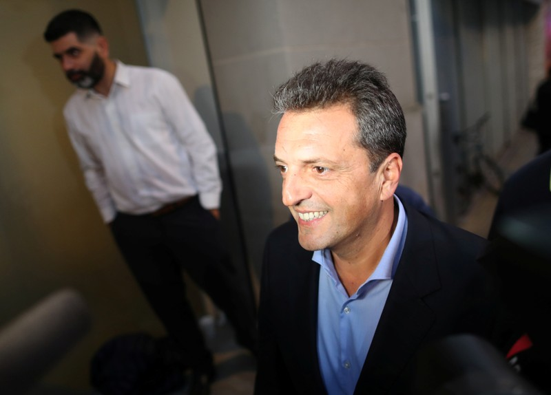 Argentine politician Sergio Massa arrives for a meeting with presidential candidate Alberto Fernandez in Buenos Aires