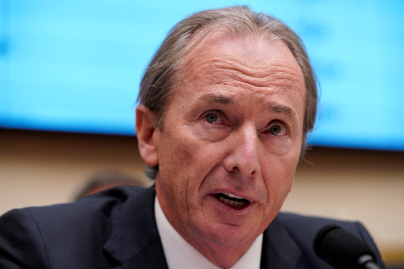 FILE PHOTO: James P. Gorman, chairman & CEO of Morgan Stanley, testifies before a House Financial Services Committee hearing in Washington