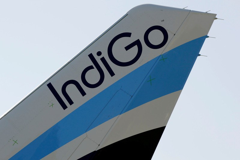 FILE PHOTO: A logo of IndiGo Airlines is pictured on passenger aircraft on the tarmac in Colomiers near Toulouse