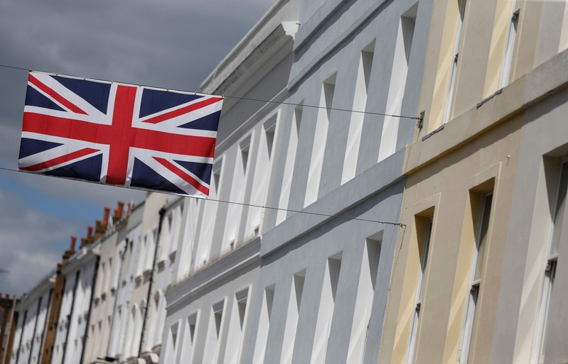 FILE PHOTO: A Union flag hangs across a street of houses in London