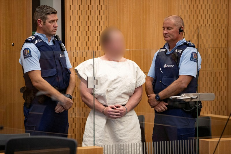 FILE PHOTO: Brenton Tarrant, charged for murder in relation to the mosque attacks, is seen in the dock during his appearance in the Christchurch District Court