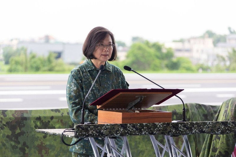 Taiwan President Tsai Ing-wen speaks during the Han Kuang military exercise simulating China's People's Liberation Army (PLA) invasion of the island, in Changhua