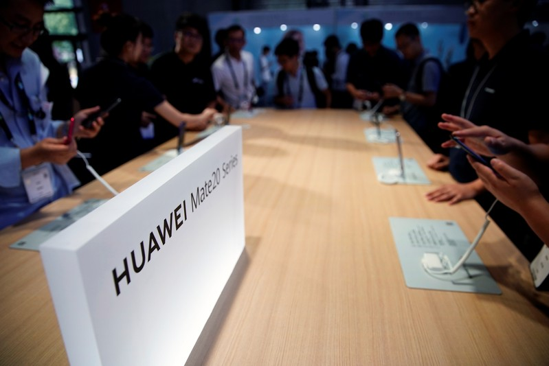 A Huawei company logo is seen at CES (Consumer Electronics Show) Asia 2019 in Shanghai