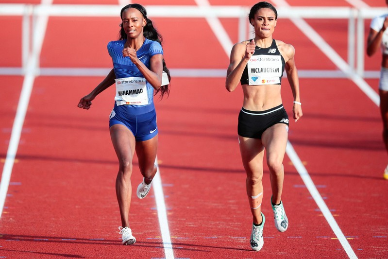 Dalilah Muhammad and Sydney McLaughlin, both of the U.S., compete in Women's 400m hurdles during the IAAF Diamond League in Bislett Stadium in Oslo