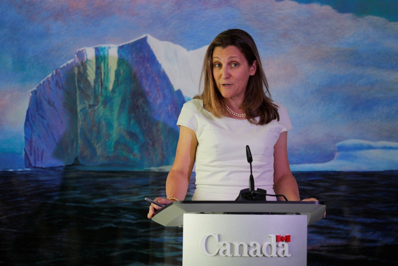 Canada's Foreign Minister Chrystia Freeland speaks during a news conference at the Canadian Embassy in Washington D.C.