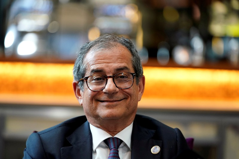 FILE PHOTO: Italy's Economy and Finance Minister Giovanni Tria speaks to reporters