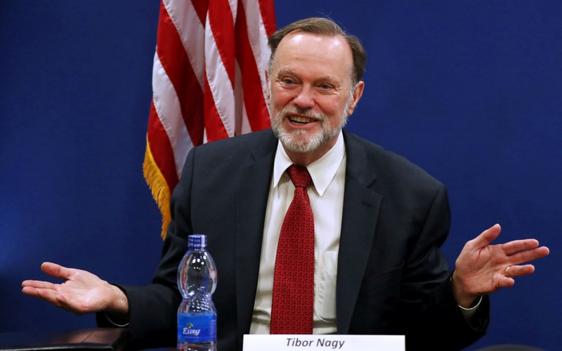 FILE PHOTO: Tibor Nagy, the U.S. Assistant Secretary of State for Africa, speaks during a news conference on the case of Sudan, in the U.S. Embassy in Addis Ababa