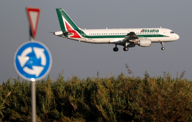 An Alitalia Airbus A320 airplane approaches to land at Fiumicino airport in Rome