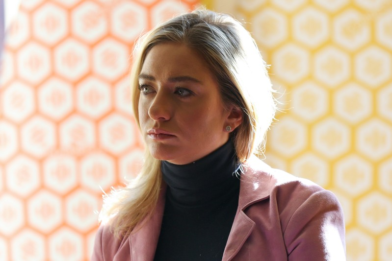 Bumble founder and CEO Whitney Wolfe Herd gives an interview in the Manhattan borough of New York City