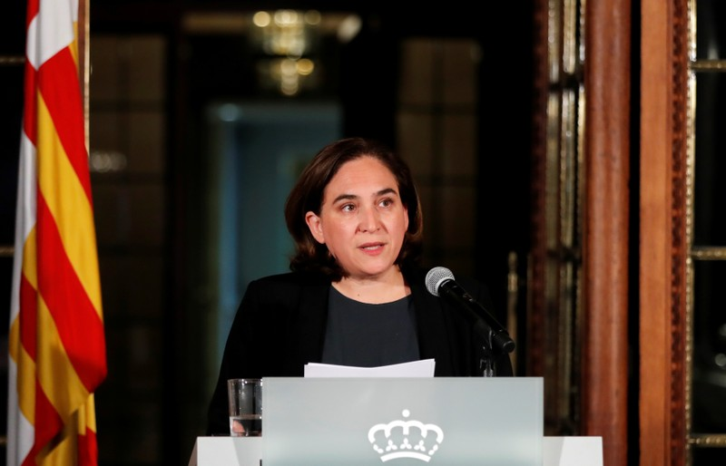 FILE PHOTO - Ada Colau, the Mayor of Barcelona, issues a statement in Barcelona