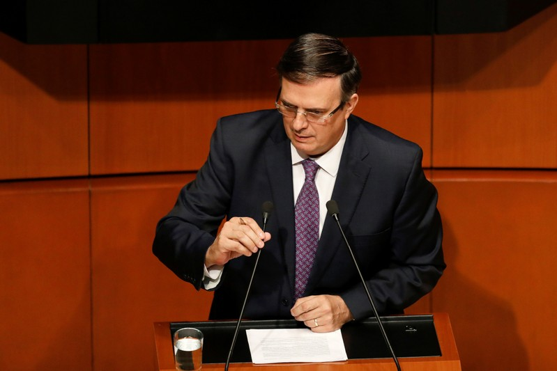 Mexico's Foreign Minister Marcelo Ebrard speaks during a session with senators and lawmakers at the Senate building in Mexico City