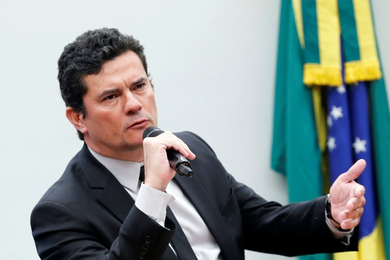 FILE PHOTO: Brazil's Justice Minister Sergio Moro speaks during a session of the Public Security commission at the National Congress in Brasilia