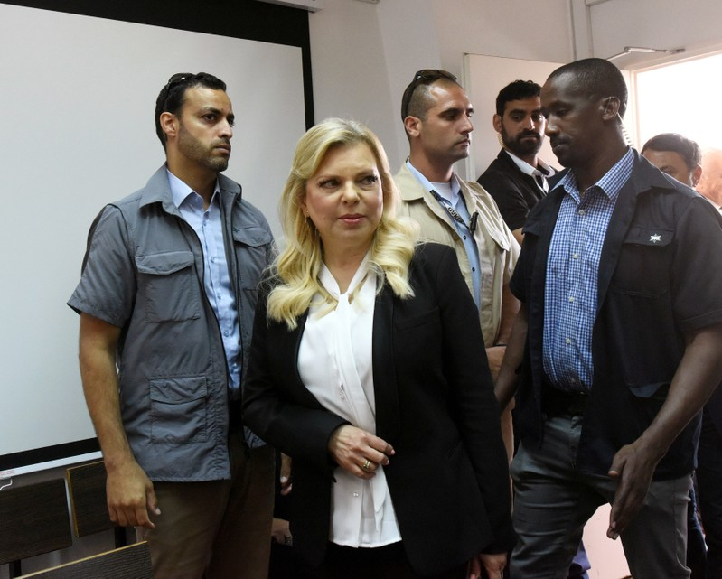 Israeli Prime Minister Benjamin Netanyahu's wife, Sara, arrives in to the Magistrate Court, for a hearing on a plea deal over the misuse of state funds for meals, in Jerusalem