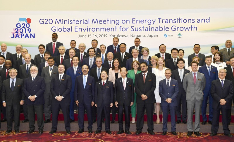 Delegates gather for a family photo session at G20 energy and environment ministers meeting in Karuizawa
