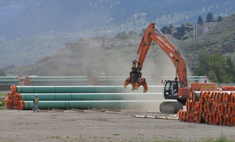 FILE PHOTO: Steel pipe to be used in the pipeline construction of the Trans Mountain Expansion Project at a stockpile site in Kamloops