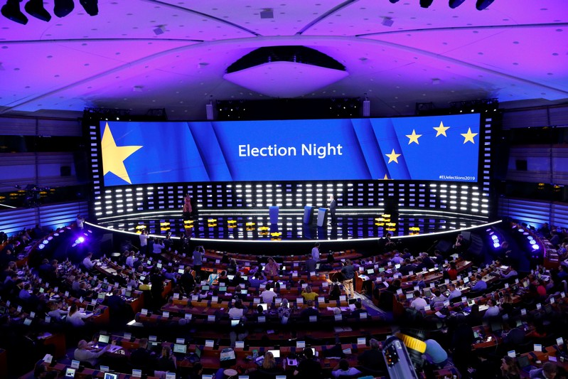 A general view of the Plenary Hall during the election night for European elections at the European Parliament in Brussels