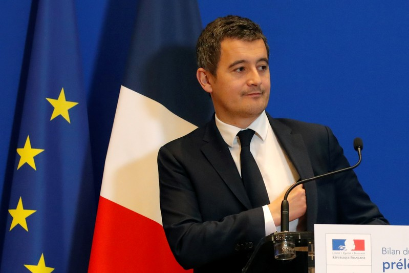 Gerald Darmanin, French Minister of Public Action and Accounts, attends a news conference on tax collection reform at Bercy Finance Ministry in Paris