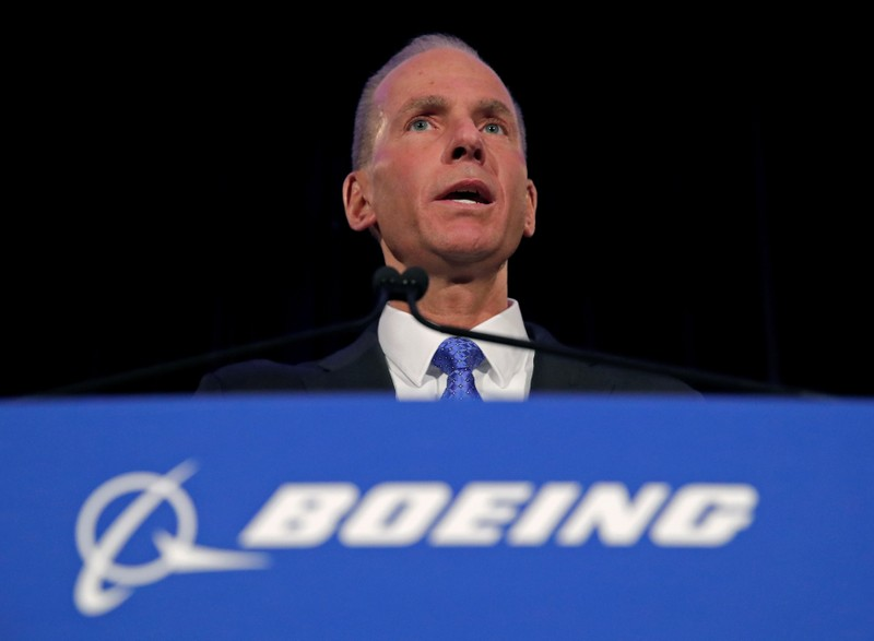 Boeing Co Chief Executive Dennis Muilenburg during a news conference at the annual shareholder meeting in Chicago