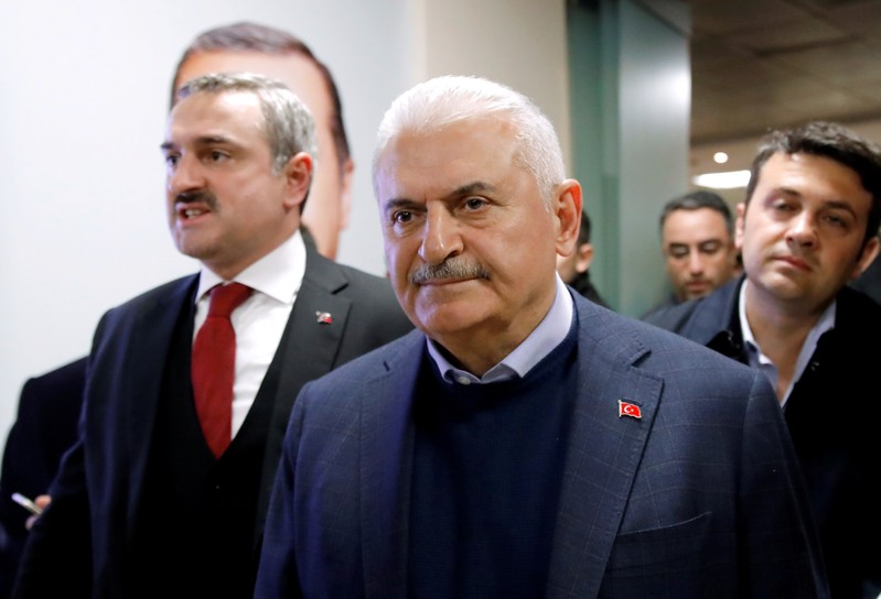 FILE PHOTO: AK Party candidate for mayor in Istanbul, Binali Yildirim, is seen inside of the party headquarters in Istanbul