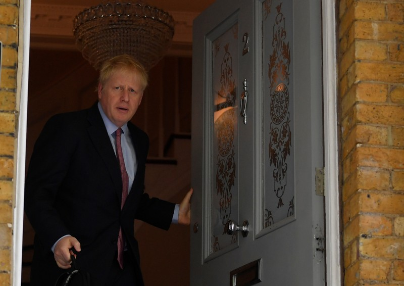 Boris Johnson, leadership candidate for Britain's Conservative Prime Minister, leaves home in London