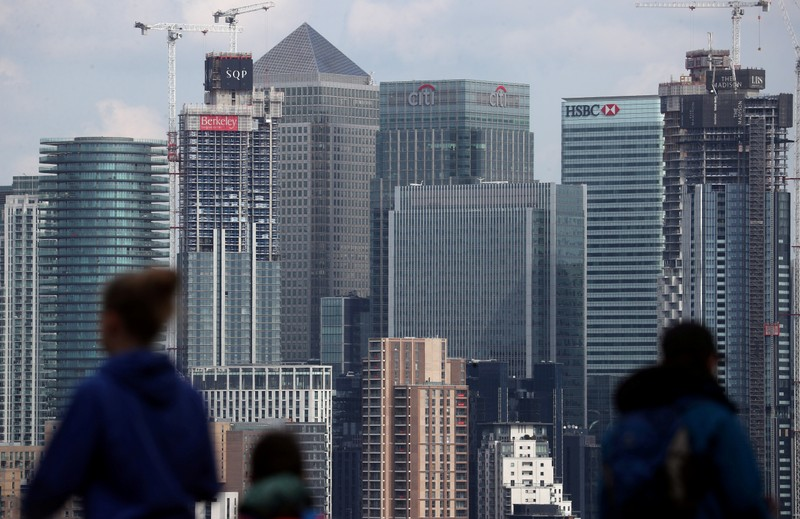 FILE PHOTO: The Canary Wharf financial district is seen from Greenwich Park in London