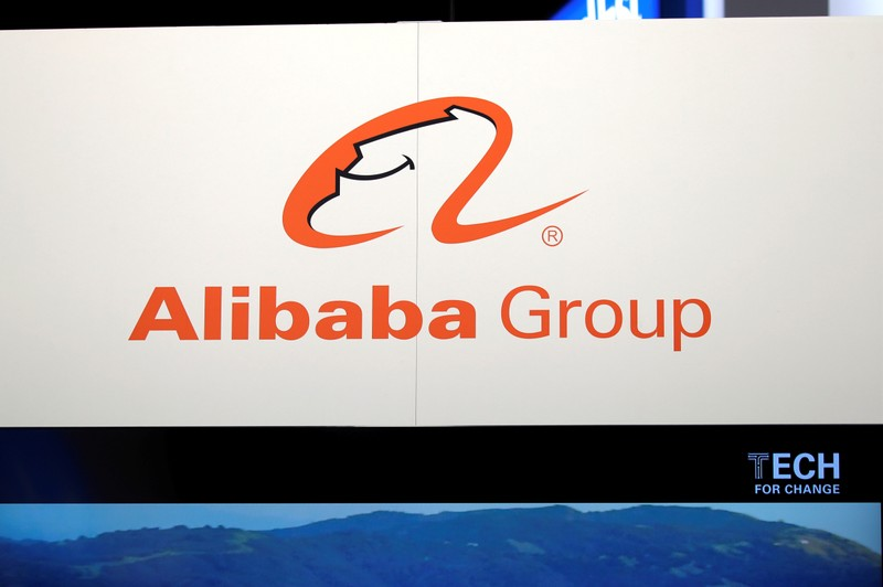 FILE PHOTO: Logo of Alibaba group is seen at VivaTech fair in Paris