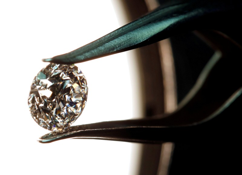 FILE PHOTO: A high-quality diamond is seen in a jewellery shop in Milan