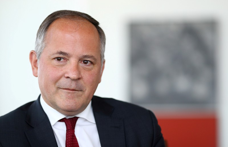 FILE PHOTO: Benoit Coeure, board member of the European Central Bank (ECB), is photographed during an interview with Reuters at ECB headquarters in Frankfurt