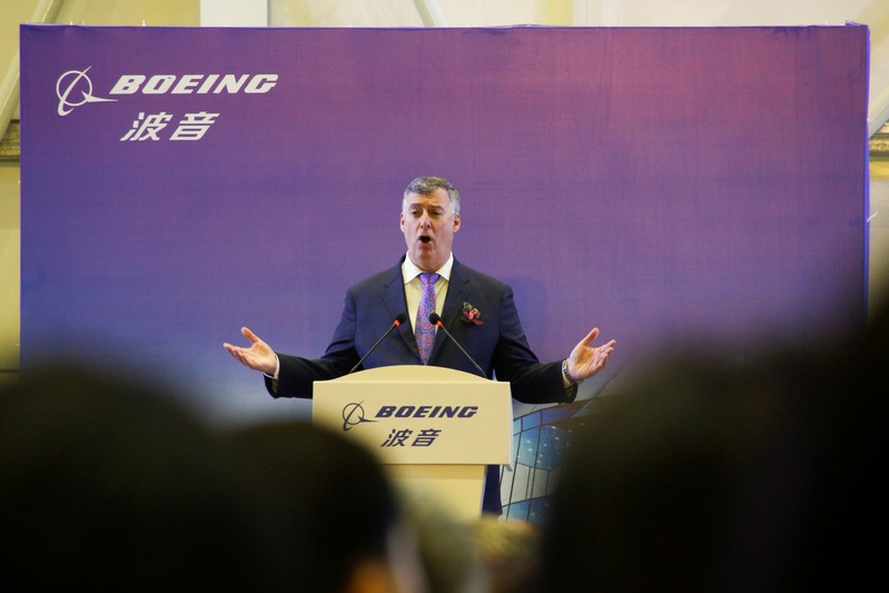 FILE PHOTO: Ceremony marking 1st delivery of Boeing 737 Max airplane to Air China in Zhoushan