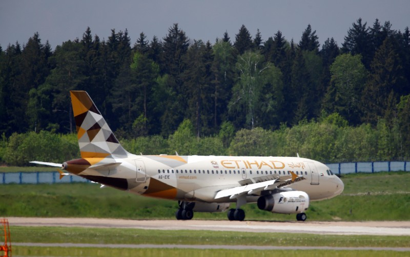 FILE PHOTO - Plane of Etihad Airways company is seen at Minsk international airport near the village of Slabada