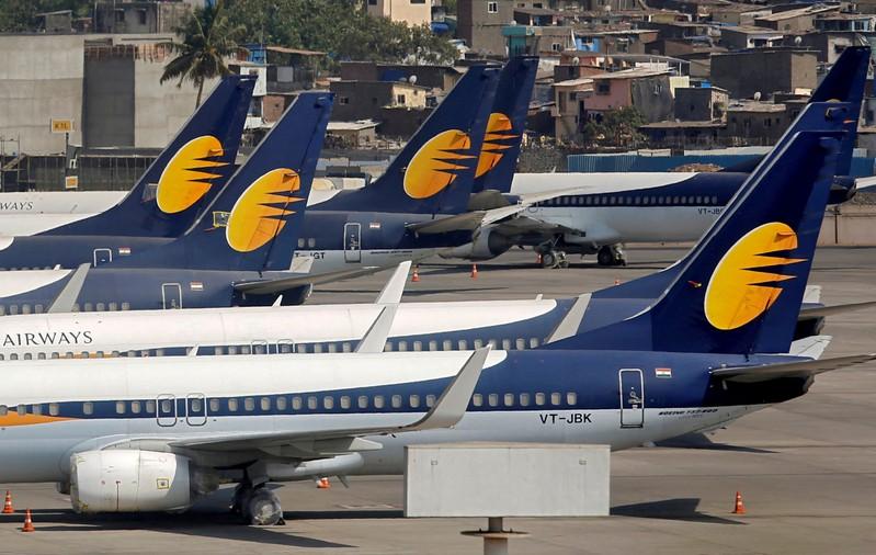 FILE PHOTO: Jet Airways aircrafts are seen parked at the Chhatrapati Shivaji Maharaj International Airport in Mumbai