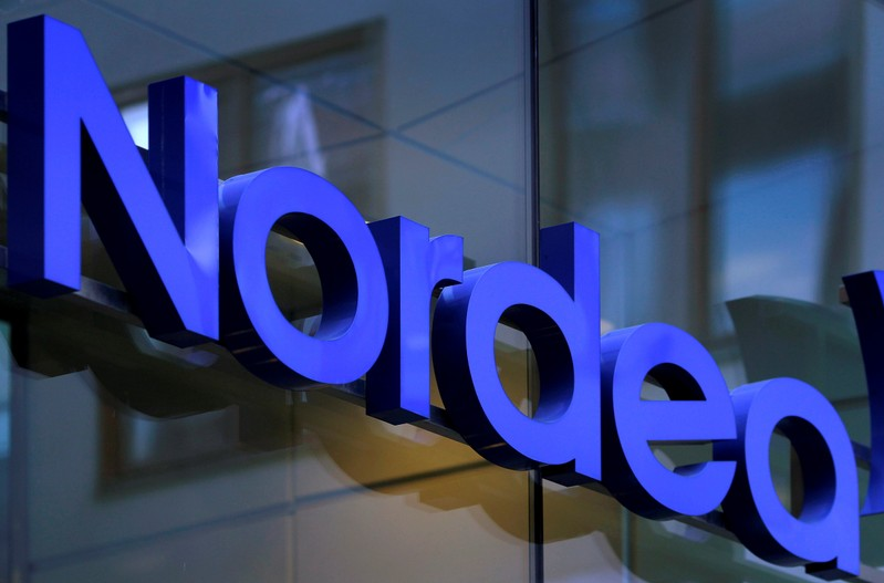 FILE PHOTO: Nordea bank logo is seen outside their corporate headquarters in Stockholm