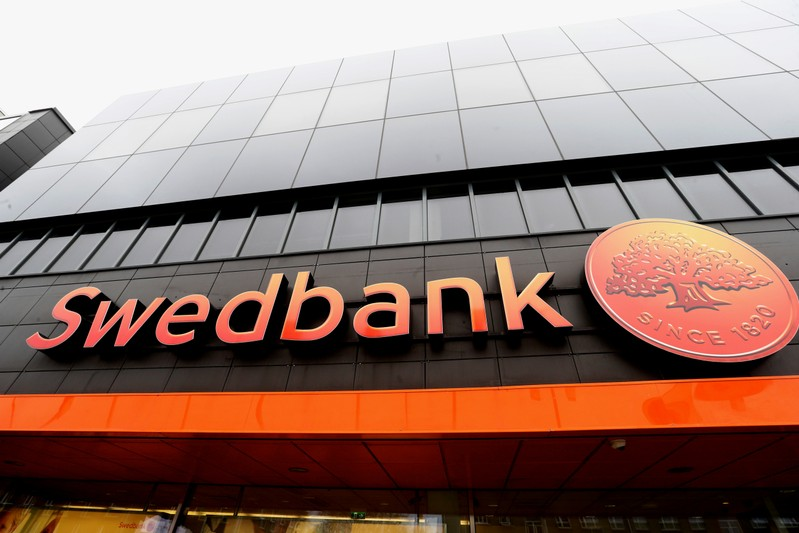 FILE PHOTO: Swedbank sign is seen on the local headquarters building in Tallinn