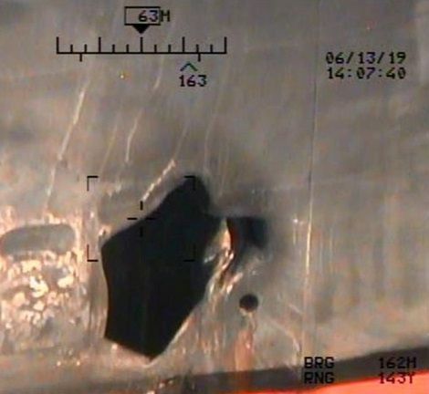 U.S. Pentagon in Washington releases handout imagery that it says shows damage from mines to commercial ships in Gulf of Oman
