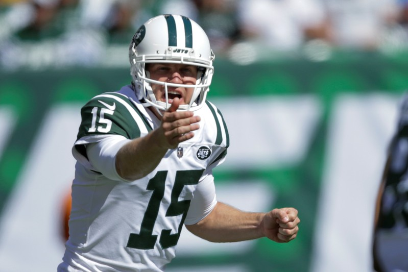 New York Jets quarterback McCown gives instructions to his teammates during their NFL football game against Jacksonville Jaguars in East Rutherford, New Jersey