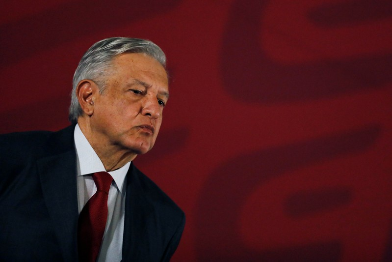 FILE PHOTO: Mexican president Andres Manuel Lopez Obrador looks on during a news conference at National Palace in Mexico City