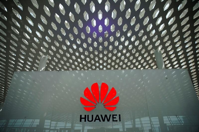 A Huawei company logo is seen at the Shenzhen International Airport in Shenzhen in Shenzhen