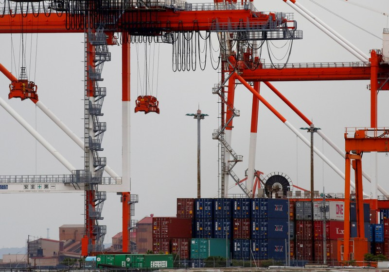 FILE PHOTO: Containers are seen at an industrial port in the Keihin Industrial Zone in Kawasaki