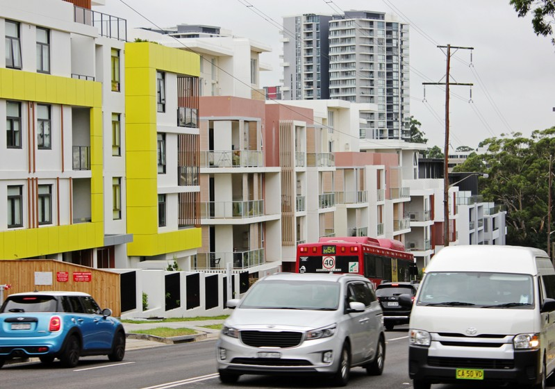 A row of newly built apartment blocks is seen in the suburb of Epping, Sydney