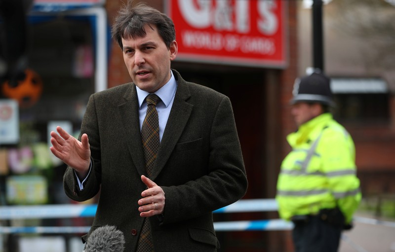 FILE PHOTO: John Glen, local Member of Parliament for Salisbury and South Wiltshire, talks to the media in Salisbury